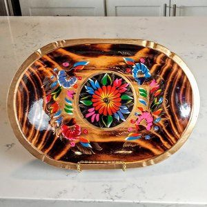 Vintage Hand Painted Tole Wood Mexican Batea Tray